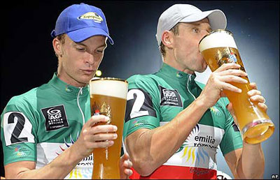Cyclists and beer