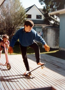Young Steve doing tricks for his brother